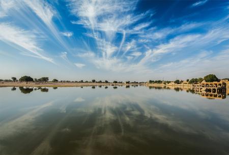 sagar: Gadi Sagar - artificial lake. Jaisalmer, Rajasthan, India