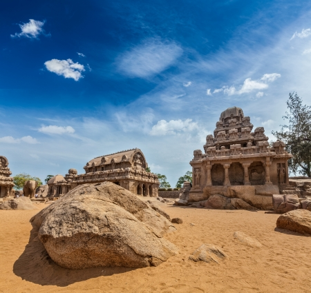 south india: Five Rathas - ancient Hindu monolithic Indian rock-cut architecture. Mahabalipuram, Tamil Nadu, South India Stock Photo
