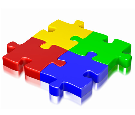 Business, teamwork, partnership, communication cooperation corporate concept:  color red, blue, green and yellow puzzle jigsaw pieces isolated on white background photo