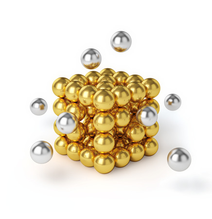 project team: Business teamwork internet communication concept - metal spheres assembling into gold cubic structure isolated on white background