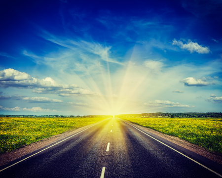 cross processed: Vintage retro hipster style travel image of  travel concept background - road in blooming spring meadow on sunset