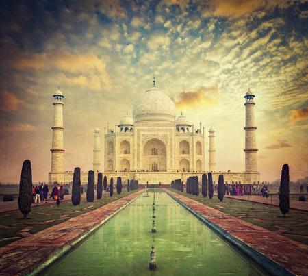 cross processed: Taj Mahal on sunrise sunset, Indian Symbol - India travel background. Agra, Uttar Pradesh, India. Retro vintage hipster style cross processed