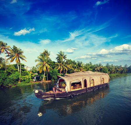 Vintage retro hipster style travel image of Kerala travel tourism