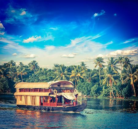 kerala backwaters: Vintage retro hipster style travel image of Kerala travel tourism