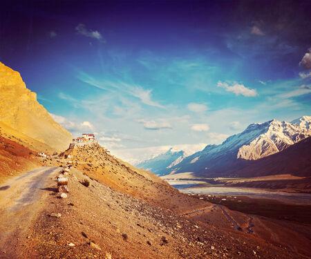 ki: Vintage retro hipster style travel image of  road to Kee (Ki, Key) Monastery. Spiti Valley,  Himachal Pradesh, India