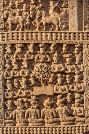 Gateway decoration bas relief of Great Stupa - ancient Buddhist monument. Sanchi, Madhya Pradesh, India