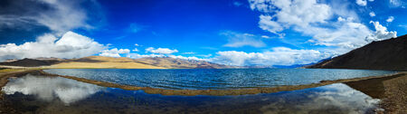 wetland conservation: Panorama of Himalayan lake Tso Moriri (official name - Tsomoriri Wetland Conservation Reserve) in Himalayas, Korzok,  Changthang area, Ladakh, Jammu and Kashmir, India