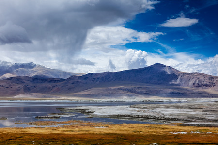 gabon: Tso Kar - fluctuating salt lake in Himalayas. Rapshu,  Ladakh, Jammu and Kashmir, India