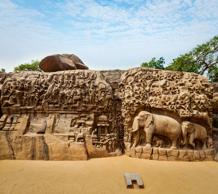 mamallapuram: Descent of the Ganges and Arjunas Penance ancient stone sculpture - monument at Mahabalipuram, Tamil Nadu, India