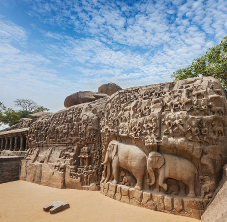 pallava: Descent of the Ganges and Arjunas Penance ancient stone sculpture - monument at Mahabalipuram, Tamil Nadu, India
