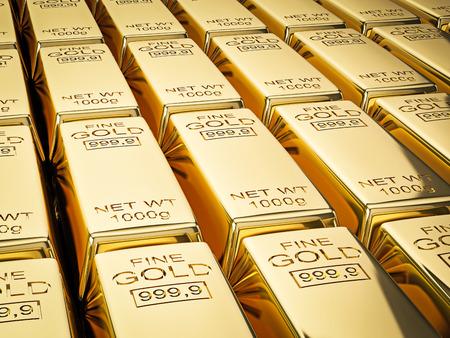 bullion: Banking finance concept background - stacks of gold bars close up Stock Photo