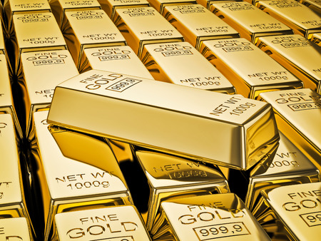 Banking finance concept background - gold bar on stacks of gold bullions close up Stock Photo
