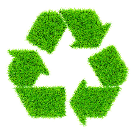 environmentally friendly: Ecology eco conservation recycling concept - green recycling symbol made of grass isolated on white background