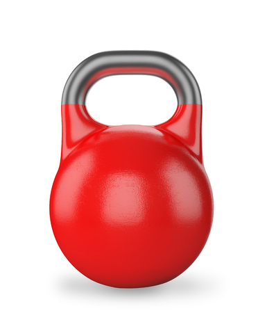 Gym equipment weight kettle bell isolated on white photo