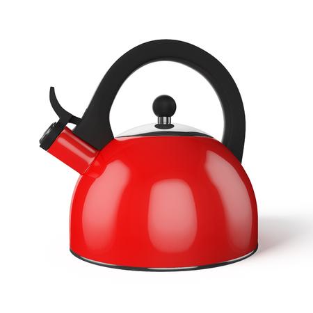 Rode stovetop fluitende die ketel op witte achtergrond wordt geïsoleerd
