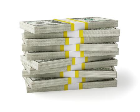 Dólares estadounidenses billetes en la pila de dinero sobre fondo blanco Foto de archivo