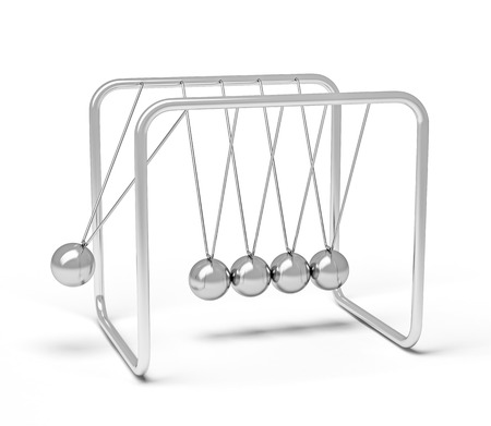 newton cradle: Action sequrence concept background - Newtons cradle executive toy isolated on white background