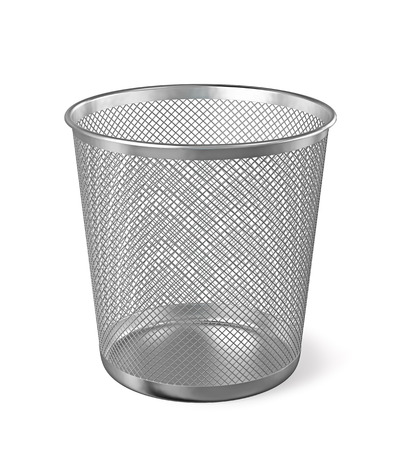 dispose: Empty metal trash garbage bin paper bin isolated on white background