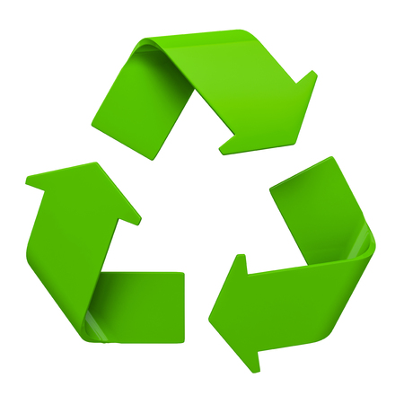 recycling symbol: Ecology eco conservation recycling concept - green recycling symbol isolated on white background