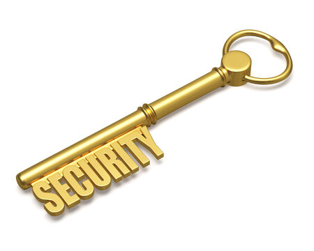 Security concept - golden key with security text made of gold isolated on white background photo