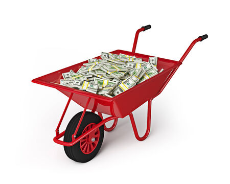 abundance money: Wealth abundance money finance richness salary wage wealth concept - wheel barrow full of dollars isolated on white background