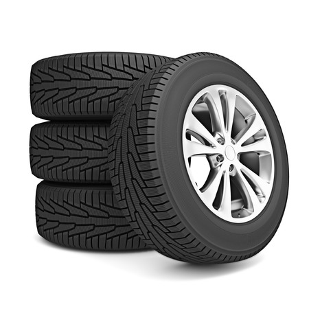 winter tire: Set of car winter tires isolated on white background Stock Photo