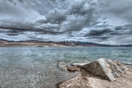 wetland conservation: High dynamic range (hdr) image of Himalayan mountain lake in Himalayas Tso Moriri (official name: Tsomoriri Wetland Conservation Reserve), Korzok,  Changthang area, Ladakh, Jammu and Kashmir, India