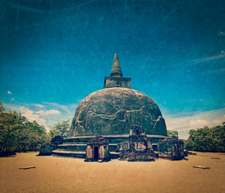 dagoba: Vintage retro hipster style travel image of Kiri Vihara - ancient dagoba with grunge texture overlaid. Pollonaruwa, Sri Lanka