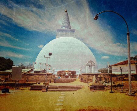 dagoba: Vintage retro hipster style travel image of Mirisavatiya Dagoba (stupa) in Anuradhapura, Sri Lanka with grunge texture overlaid Stock Photo