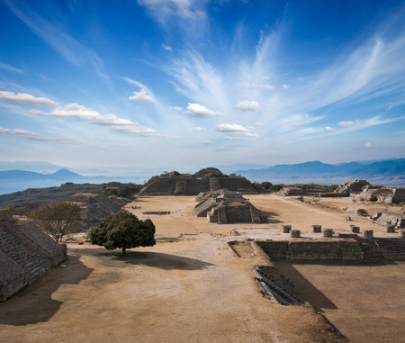Ancient ruins on plateau Monte Alban in Mexico photo
