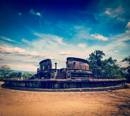 dagoba: Vintage retro hipster style travel image of ancient Vatadage (Buddhist stupa) in Pollonnaruwa, Sri Lanka
