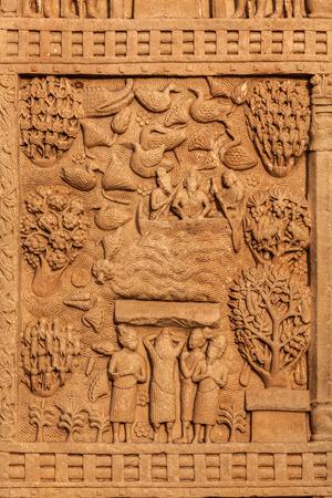 sanchi stupa: Gateway decoration bas relief of Great Stupa ancient Buddhist monument.