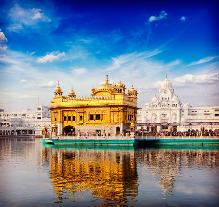 famous India attraction Sikh gurdwara Golden Temple (Harmandir Sahib). Amritsar, Punjab, India