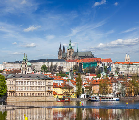 travelled: View of Charles bridge over Vltava river and Gradchany (Prague Castle) and St. Vitus Cathedral