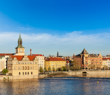 stare mesto: Prague Stare Mesto embankment view from Charles bridge on sunset. Prague, Czech Republic