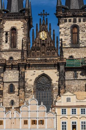 tynsky church: View of Tyn Church (Tynsky Chram) on Old City Square from Town Hall. Prague, Czech Republic