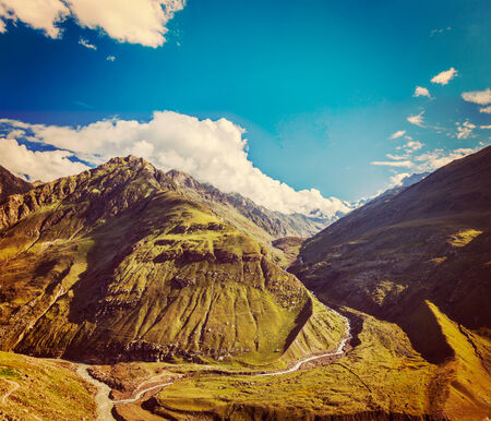 himachal pradesh: Vintage retro effect filtered hipster style travel image of Himalayan valley in Himalayas. Lahaul valley, Himachal Pradesh, India