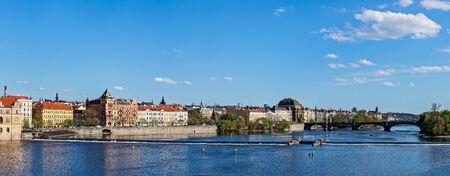 stare mesto: Panorama of Prague Stare Mesto embankment and Vltava river view from Charles bridge. Prague, Czech Republic