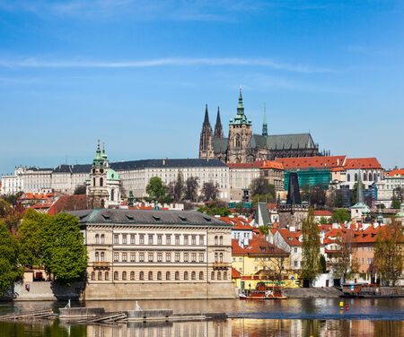 traveled: View of Charles bridge over Vltava river and Gradchany (Prague Castle) and St. Vitus Cathedral