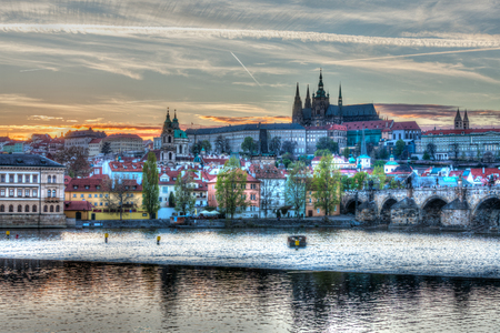 czechoslovakia: HDR image of view of Charles bridge over Vltava river and Gradchany (Prague Castle) and St. Vitus Cathedral