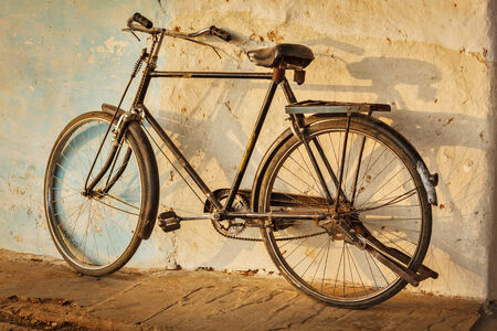 bycicle: Old Indian bicycle in the street of India Stock Photo