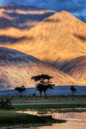 high dynamic range: HDR (high dynamic range) image of Nubra river in Nubra valley in Himalayas, Hunder, Ladakh, India