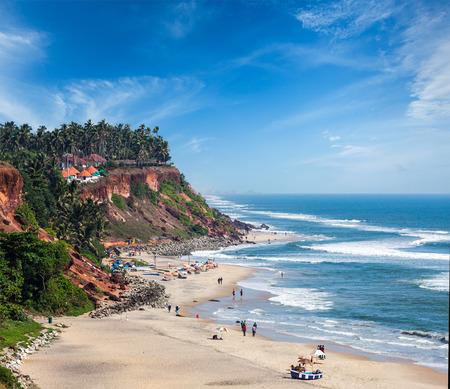 One of India finest beaches - Varkala beach, Kerala, India photo