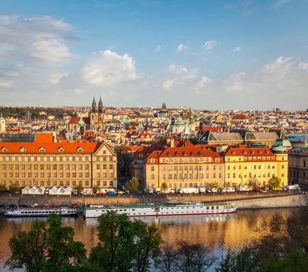 tynsky church: Aerial view of Prague and Vltava river on sunset, Czech Republic