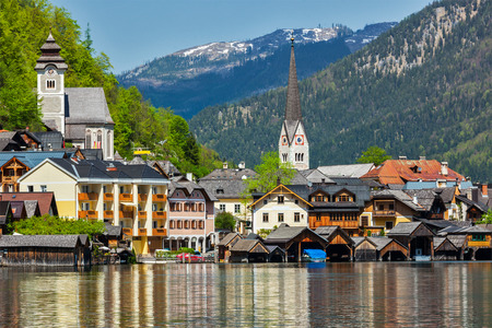 austrian village: Austrian tourist destination Hallstatt village on  Hallstätter See in Austrian alps. Salzkammergut region, Austria Stock Photo