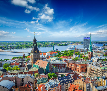 Aerial view of Riga center from St. Peters Church, Riga, Latvia