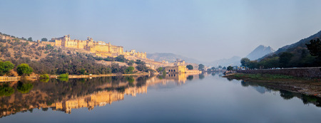 amber fort: Famous Rajasthan landmark - Panorama of Amer (Amber) fort, Rajasthan, India Stock Photo