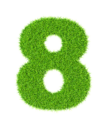Grass number 8 (eight) - ecology eco friendly concept character type photo