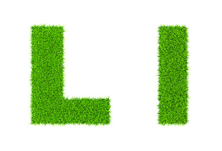 uppercase: Grass letter L - ecology eco friendly concept character type Stock Photo