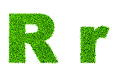 Grass letter R - ecology eco friendly concept character type photo